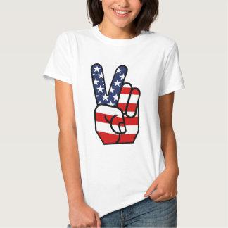 American Flag Peace Hand Tshirts