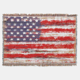 american flag, vintage style throw