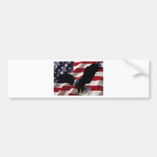 American Flag with American Bald Eagle Bumper Sticker