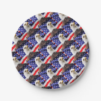 American Flag with Eagle 7 Inch Paper Plate