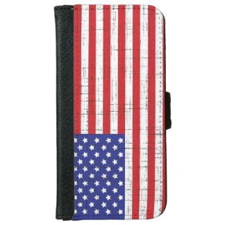 American Flag with Sketched Overlay iPhone 6 Wallet Case