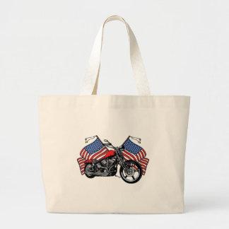 American Flags Motorcycle Large Tote Bag