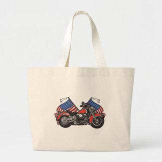 American Flags Patriotic Motorcycle Large Tote Bag