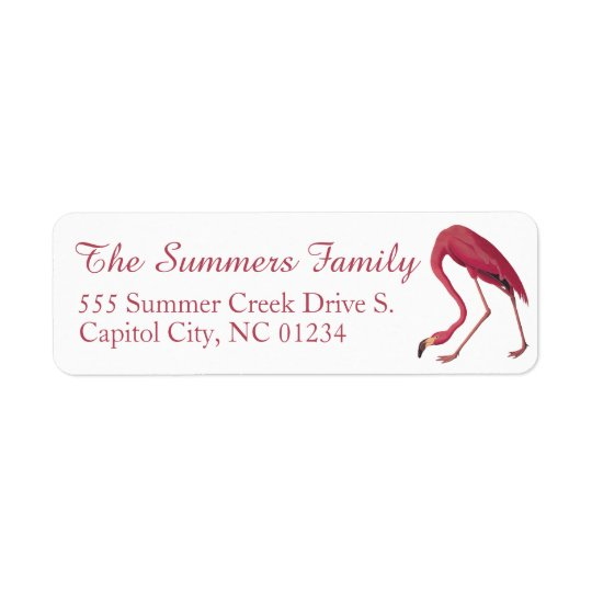 American Flamingo Audubuon Return Address Labels