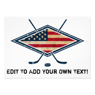 American Hockey Flag Logo Custom Announcement