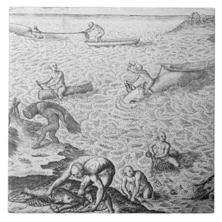 American Indian method of whaling, from an account Large Square Tile
