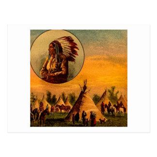 American Indians Vintage Magic Lantern Slide Postcard