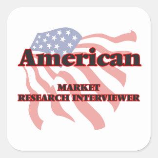 American Market Research Interviewer Square Sticker