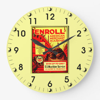 American Merchant Marine-Enroll Today Large Clock