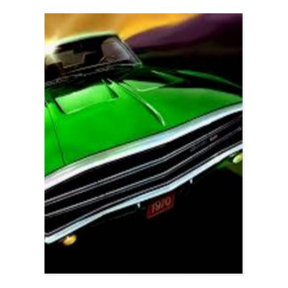 american muscle  cars charger green. postcard