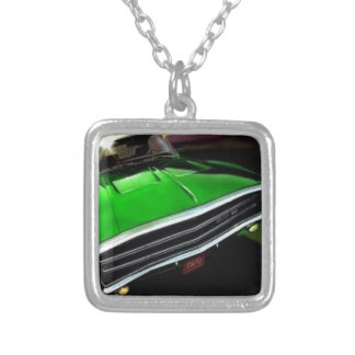 american muscle  cars charger green. square pendant necklace