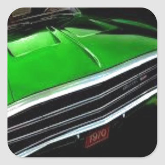 american muscle  cars charger green. square sticker