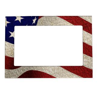American Patriot Vintage Stars and Stripes US Flag Picture Frame Magnet