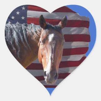 American Quarter Horse and Flag - Patriotic Heart Sticker