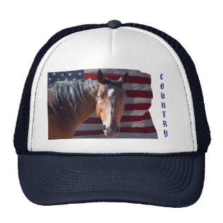 American Quarter Horse and U.S. Flag - Patriotic Cap