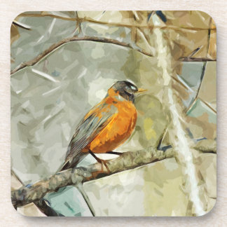 American Robin Hunting Abstract Impressionism Coaster