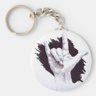 AMERICAN SIGN LANGUAGE I LOVE YOU BASIC ROUND BUTTON KEY RING