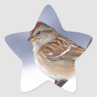 American Tree Sparrow peace and love Star Sticker