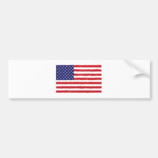 American USA Flag *Hand Sketch* Us Flag Bumper Sticker