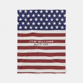 American USA Flag Patriotic July 4th Custom Fleece Blanket