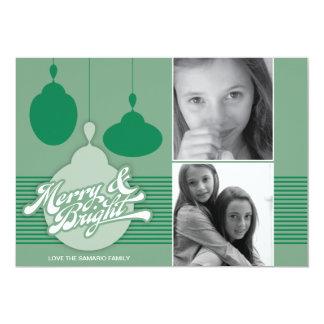 Americana Green Ornament Holiday Photo Card 13 Cm X 18 Cm Invitation Card