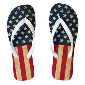 Americana USA Flag Stars and Stripes Flip Flops Thongs