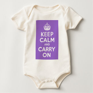 Amethyst Keep Calm and Carry On Baby Bodysuit
