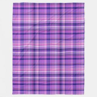 Amethyst Navy Blue Cotton Candy Pink Madras Fleece Blanket