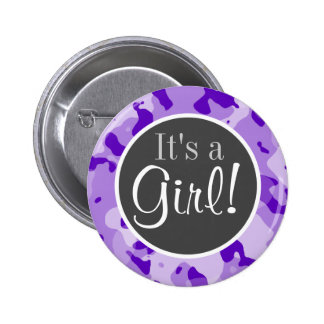 Amethyst Purple Camo; Camouflage Pinback Buttons