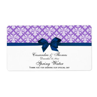 Amethyst Purple White Damask Water Label, Navy Bow