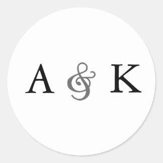 Ampersand Elegance: Gray Envelope Seals Round Sticker