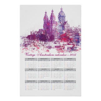 Amsterdam architecture calendar 2015 poster