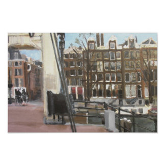 Amsterdam Bridge and Canal Houses Fine Art Poster