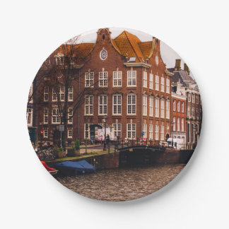Amsterdam Canal and Architecture 7 Inch Paper Plate