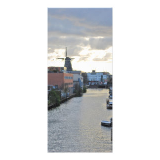 Amsterdam Canal and Windmill with setting Sun Rack Card Design