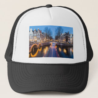 Amsterdam Canals at Night Trucker Hat