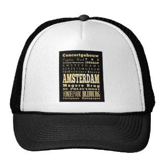 Amsterdam City of Olanda Typography Art Cap