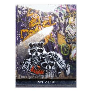 Amsterdam Graffiti Street Art Nr. 1 - Raccoon 14 Cm X 19 Cm Invitation Card