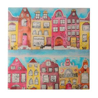 Amsterdam in love small square tile