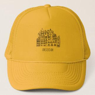 Amsterdam Netherlands Holland City Souvenir Orange Trucker Hat