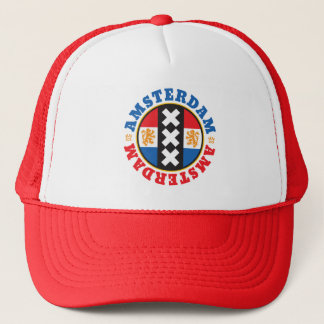 Amsterdam XXX City Symbol with Dutch Flag Trucker Hat