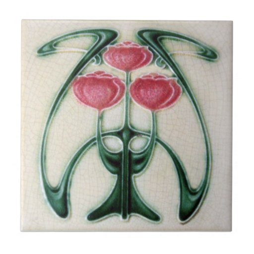 AN122 Art Nouveau Reproduction Antique Tile