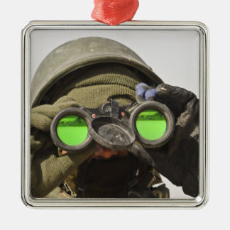 An Afghan soldier scans the horizon Silver-Colored Square Decoration