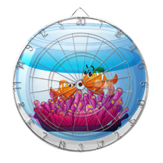 An aquarium with two orange fishes dartboards