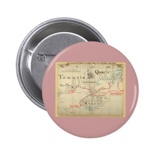 An Authentic 1690 Pirate Map (with embellishments) Pinback Buttons