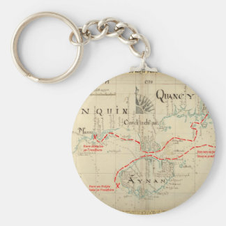 An Authentic 1690 Pirate Map (with embellishments) Basic Round Button Key Ring
