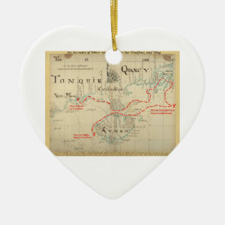An Authentic 1690 Pirate Map (with embellishments) Ceramic Heart Decoration