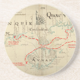 An Authentic 1690 Pirate Map (with embellishments) Sandstone Coaster