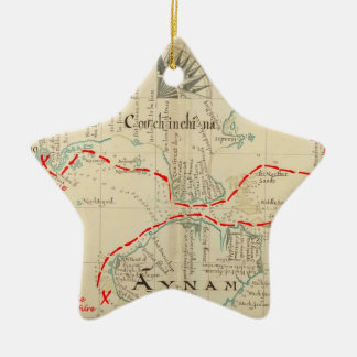 An Authentic 1690 Pirate Map (with embellishments) Christmas Tree Ornaments