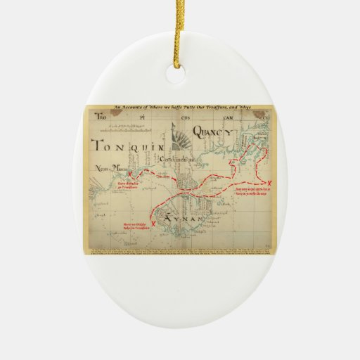 An Authentic 1690 Pirate Map (with embellishments) Ornament